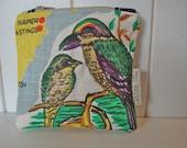repurposed vintage tea towel coin purse/wallet New Zealand Birds