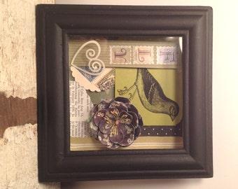 Original Art - Green and Black Bird Shadow Box Collage - FLY