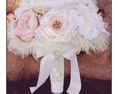 Fabric Flower Bridal Bouquet Custom. Dusty pink, Blush, Mauve, Ivory, Tulle, Lace, Pearls, Rhinestones.  You pick Colors