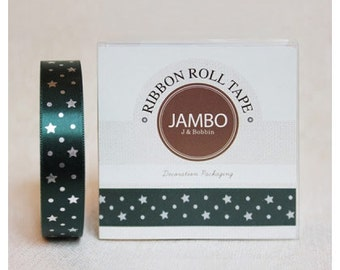 Adhesive Flora silver green ribbon roll deco tape by J&Bobbin