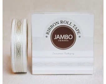 Adhesive Flora Beige ribbon roll deco tape by J&Bobbin