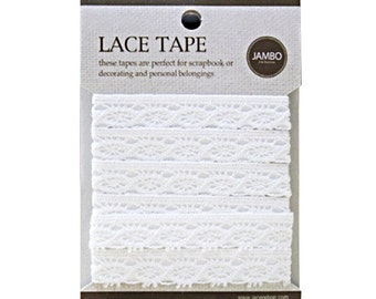 Adhesive deco fabric cotton lace tape M 01 - white by J&Bobbin