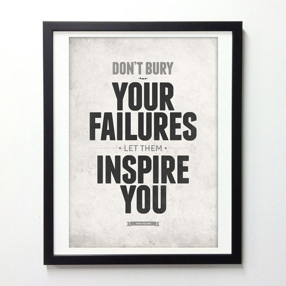 Items similar to office quotes don 39 t bury your failures for Inspirational items for office