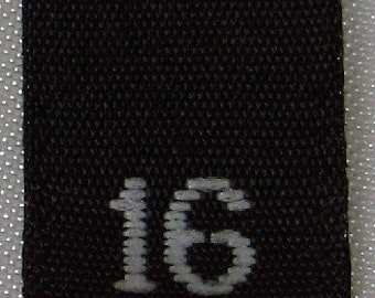50 pcs Black Woven Sewing Clothing Labels,  Size Tags -  Size 16 - Sixteen