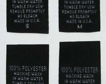 100 pcs Black Woven Clothing Labels, Care Label - 100% Polyester   S, M, L, XL (25 pcs each)