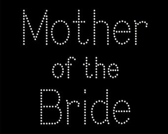 Mother of the Bride Rhinestone Tshirt.  Bling tee for the Brides Mom.  Sparkly, Blingy shirts for the Wedding Bridal party.