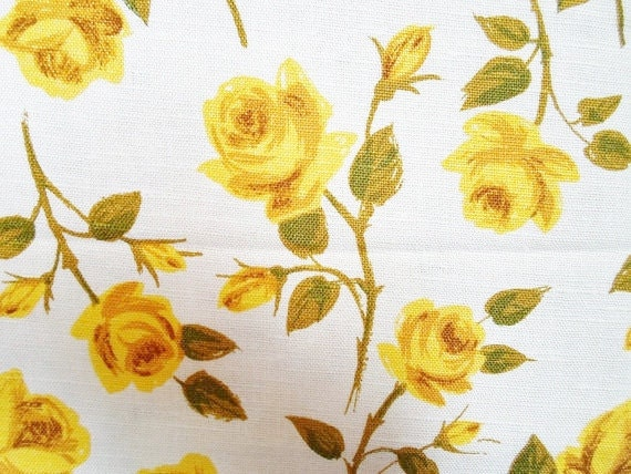 Vintage Barkcloth Six Yards Yellow Rose Fabric Yardage Two