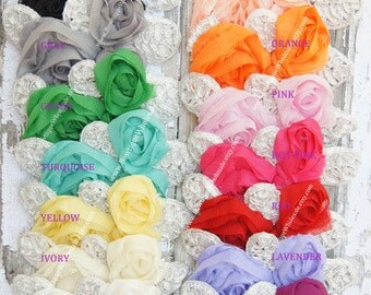 NEW CHIFFON Imperial APPLIQUE with Leaves - White, Ivory, Pink, Hot Pink, Black, Gray, Beige, Turquoise