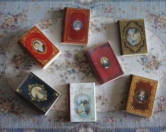 Dollhouse Miniature set of classic books with portrait