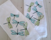 Embroidered Dish Towel Set of Two Dragonfly Motif Turquoise and Lime Green Flour Sack Kitchen Towels