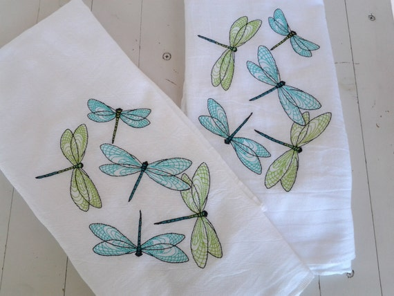 embroidery designs kitchen towels embroidered dish towel set of two dragonfly motif turquoise 7053