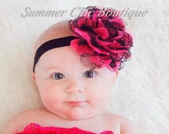 Baby Headband, Infant Headband, Toddler Headband, Girls Headband - Pink and Black Frayed Chiffon and Lace Flower Headband