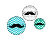 INSTANT DOWNLOAD-Colorful Moustache - Printable 14 mm round for for earrings, cufflinks, ring, magnet, pendant - Jpg File no. A287
