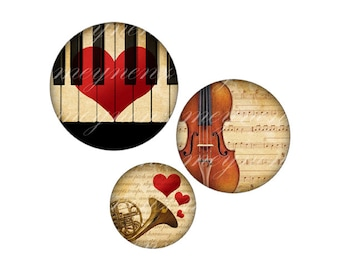 INSTANT DOWNLOAD- The Love Song - Printable 1 inch round for jewelry, magnet - Jpg File no. A082