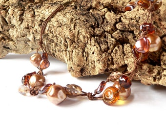 Statement brown and golden necklace handmade with brown and golden glass beads. ooak made in Italy.