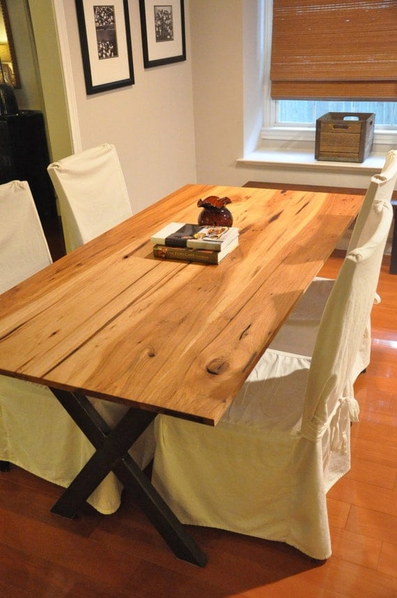 the LEA Dining Table Reclaimed Pecan Wood Dining by hautehabitats