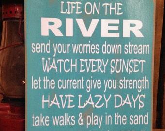 River Decor, River House Decor, Life on the River Sign, Wood River Sign, River Signs, River Art Decor, River Wall Art