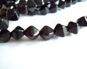 Czech glass x 100, Jet Black, 6mm bicone, pressed beads