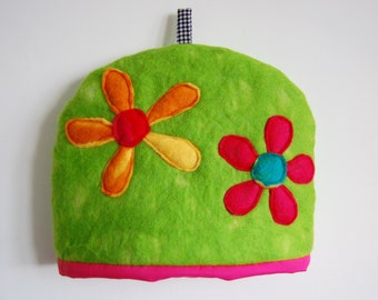 Hand Felted and Appliquéd Bright Flowers Tea Cosy
