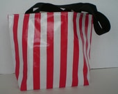 Red stripe Small monogrammed oilcloth tote