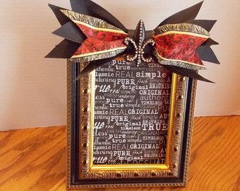 Picture Frame, Embellished Picture Frame, Fleur De Lis, Gold, Black, Red, Zebra Trimmed Ribbon, Bling