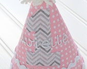 Pink Dot and Grey Chevron Baby Girl Birthday Hat-Personalization Included