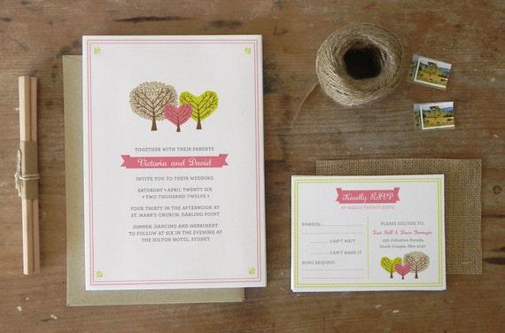 DIY Printable Wedding Invitation Woodlands - 4 pieces
