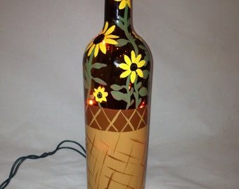 Hand Painted Recycled Wine Bottle with Black Eyed Susans in a Basket