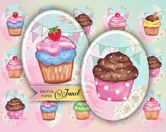 Cupcake Party - oval image - 30 x 40 mm or 18 x 25 mm - digital collage sheet  - Printable Download