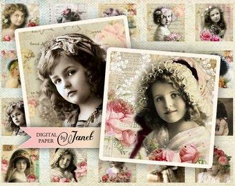 My Foto - squares image - digital collage sheet - 1 x 1 inch - Printable Download