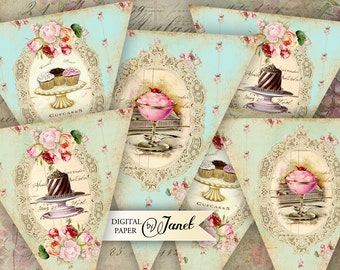 Sweet Banner - digital collage sheet - set of 3 sheet - Printable Download