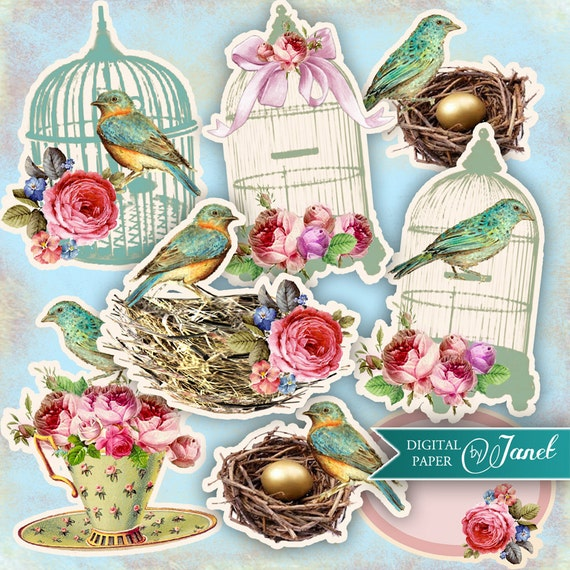 BIRDS set - digital collage sheet - printable download