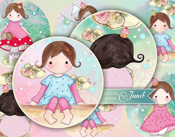 Dreams of Matilda - 2.5 or 1.5 inch - circles - set of 12 - digital collage sheet - pocket mirrors, tags, scrapbooking, cupcake toppers