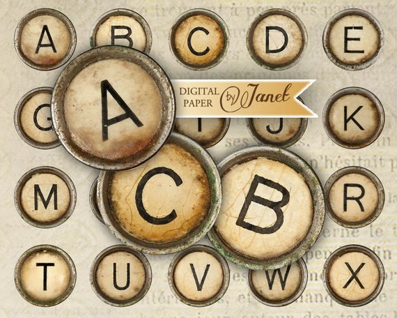 Vintage TYPEWRITER Key alphabet - circles image - digital collage sheet - 1 x 1 inch - Printable Download