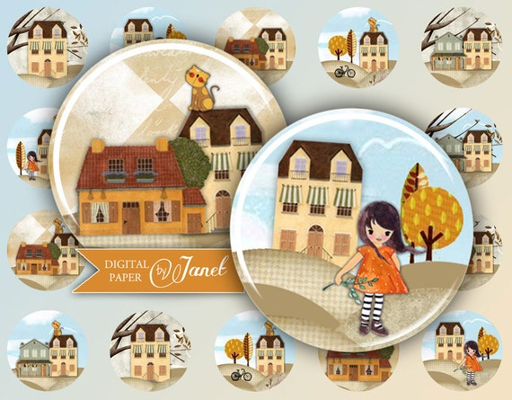 Home sweet Home - circles image - digital collage sheet - 1 x 1 inch - Printable Download