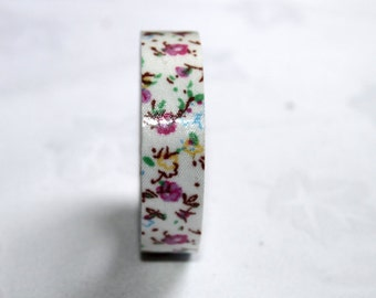 Pretty pink -floral  fabric tape-  flower pattern tape Qty 1