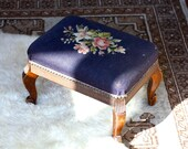 Adorable Petite Needlepoint Floral Footstool