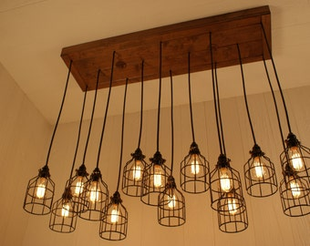 Cage Light Chandelier - Cage Lighting - Industrial Lighting - Edison Bulbs - Refined Alder Wood