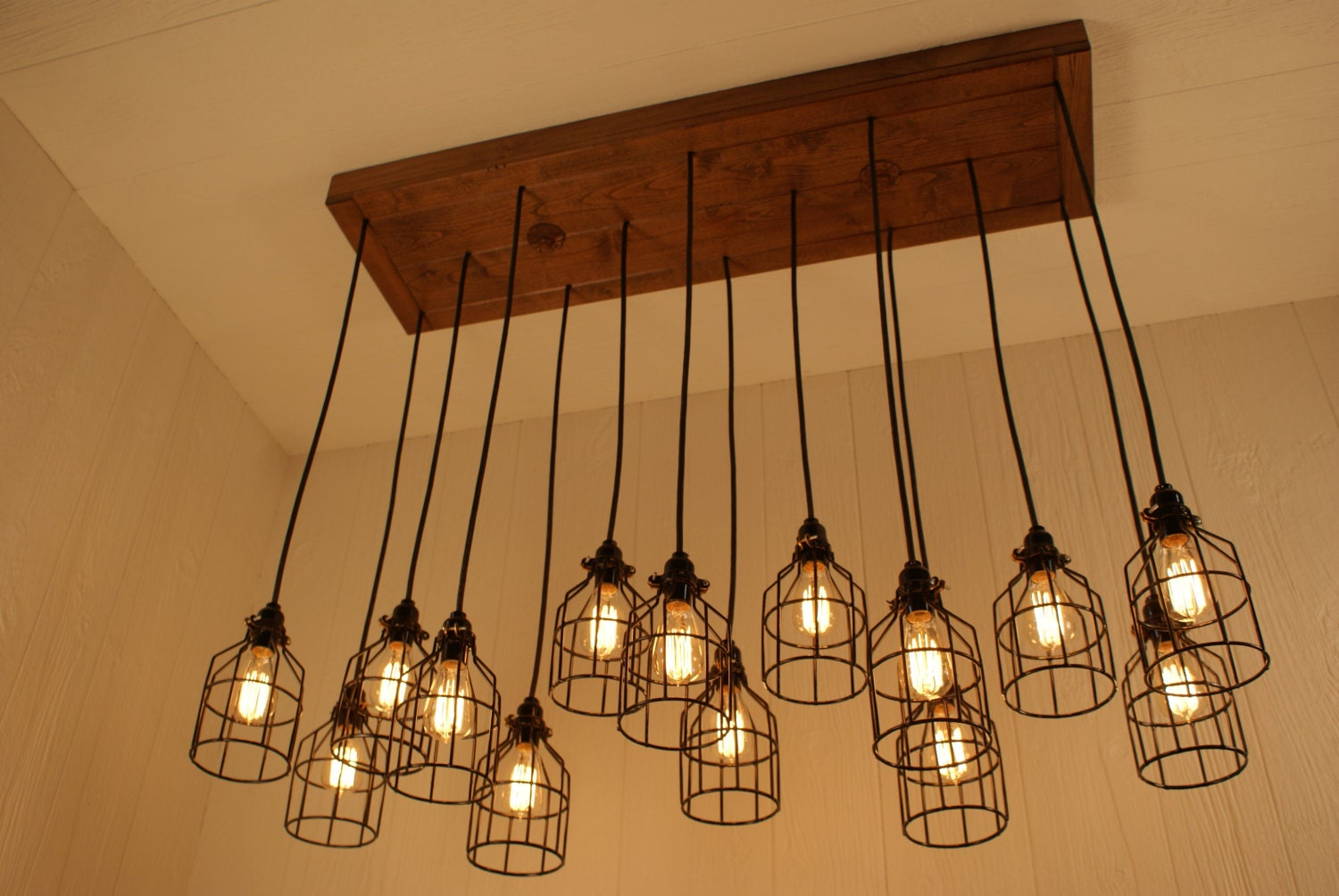 Cage light chandelier cage lighting by bornagainwoodworks for Vintage lampen