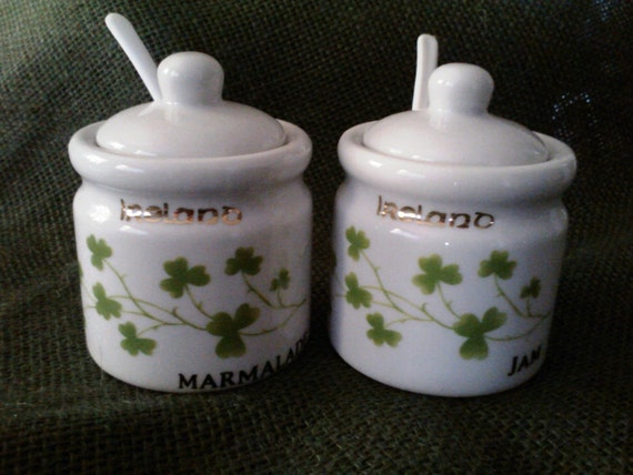 St Patrick's Day Jam & Marmalade Jar Set/ Irish Lover Hostess Gift/ Vintage //Treasury Item