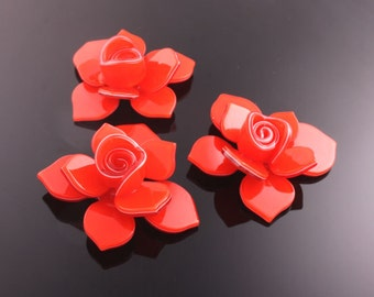 6pcs-40mm Flower Celluloid Cabochon For Accessory,jewely,Art deco and more-Red(C560R)