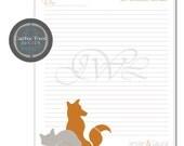 Custom STATIONARY DESIGN- Cuddly Fox