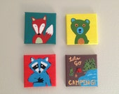 Mini Canvas Set of 4 Woodland Camping Animals