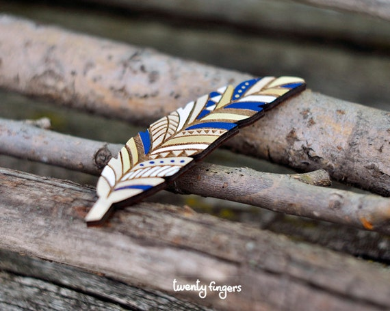 Wood native brooch - feather (laser cut)