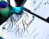 PEACOCK  Printable Wedding Invitation Suite  (DIY Press-Ready DIGITAL File) w/ Enclosure Cards (2)