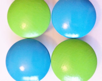 Lime Green and Turqouise Blue Dresser Knobs