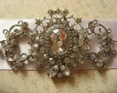 Vintage style rhombus sash, rhinestone crystals wedding sash, silver sash, buckle, bridal dress belt, satin belt sash