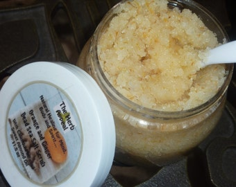 Orange & Ginger Sea Salt Scrub With Calendula Infused Sweet Almond Oil 11.5 Oz  for Energizing, Stimulating Skin Care
