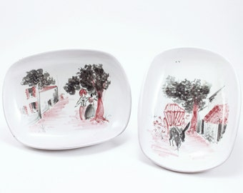 Pair of Vintage Ceramic Soap Dishes/Trinket Dishes - Made in Mexico