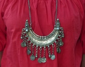 SALE Vtg Antique / Old India Banjara Rajasthan Ethnic tribal gypsy belly dance Silvertone dangle coin statement necklace